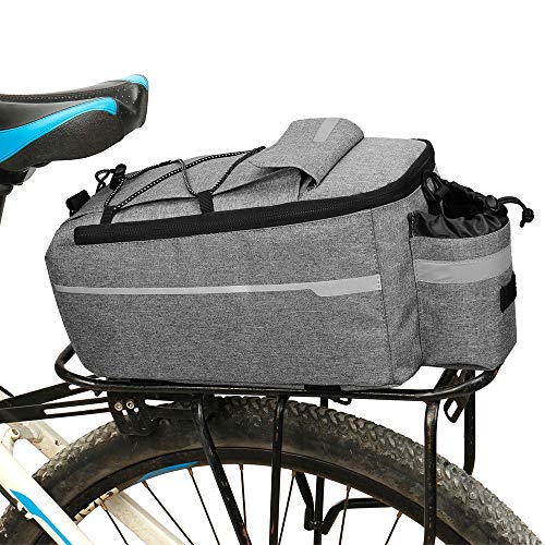 PANNIERS Bicycle Trunk Bag, Insulated Trunk Cooler Bag Cycling Rear Rack Storage Luggage Bag Reflective MTB Bike Shoulder Bag,Gray