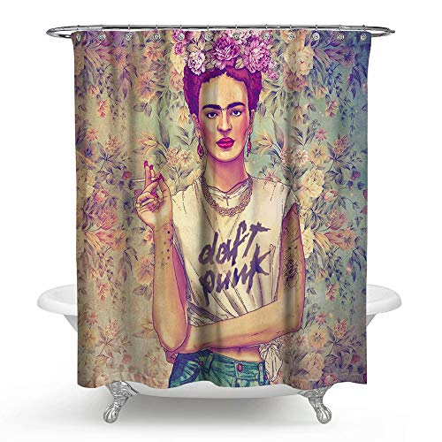 ATOLY Oil Painting Woman Retro Frida Kahlo Mildew Shower Curtain, Waterproof Padded Polyester Bathroom Eco Shower Curtain - 72