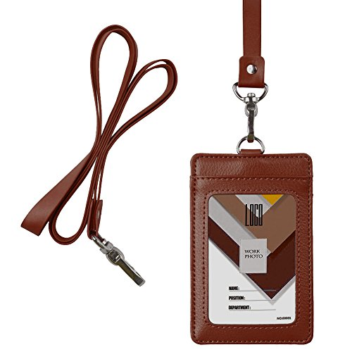 Indressme 2-Sided Vertical Genuine Leather ID Badge Holder with Lanyard (Brown Vertical Leather)