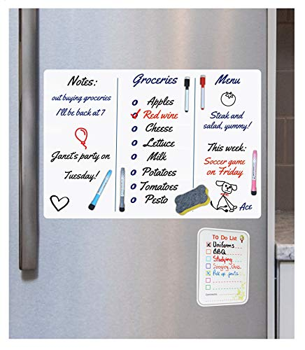 Magnetic Whiteboard for Refrigerator by Handel Quality - Dry Erase Full set: large 16x12 stain resistant white magnetic sheet + 5 markers with magnets + eraser + Bonus small To Do list for Fridge