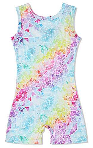 Sparkly Gymnastics Leotards Tight Dancers Bodysuit Size 4 Colorfull Geometry Checkered Desginer Romper Dancewear with Shorts Jazz Leos Jumpsuit for Juniors Teenager Girls (Gymnastics Jumpsuit)