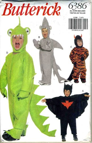 Butterick Costume Pattern 6386 ~ Dragon, Dinosaur, Shark, Bat, Devil ~ Toddler Sizes (Dog Dragon Costume Pattern)