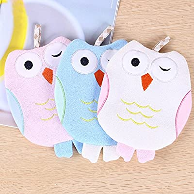 3 Pcs Bath Sponge Wearable Cute Small Bird Shaped Bath Gloves, Bamboo Fiber, Rope Hanging, Easy to Carry Fast Drying Towel Kids Baby Toddler Bath Sponge Suitable for More Than 3 Months Up