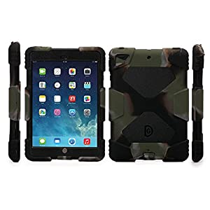 Aceguarder Apple Ipad Mini 1&2&3 Case Waterproof Rainproof Shockproof Kids Proof Case for Ipad Mini 2 Mini 1&2(gifts Outdoor Carabiner + Whistle + Handwritten Touch Pen) (CAMO ARMY-BLACK)
