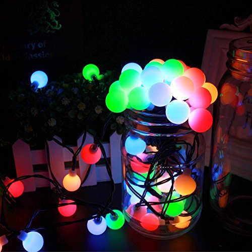 Solar Outdoor String Lights,WONFAST Waterproof 23ft/7M 50 LED Bulb White Ball Solar Globe Fairy Christmas Lights for Wedding Holiday Party Patios Lawn Garden Decoration (Multicolor)