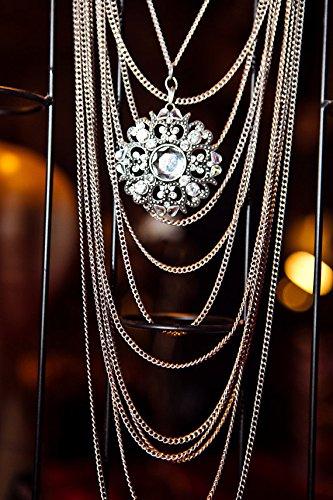 Vintage Estate Costume Jewelry - Vintage Metal Pendant & Chains Necklace