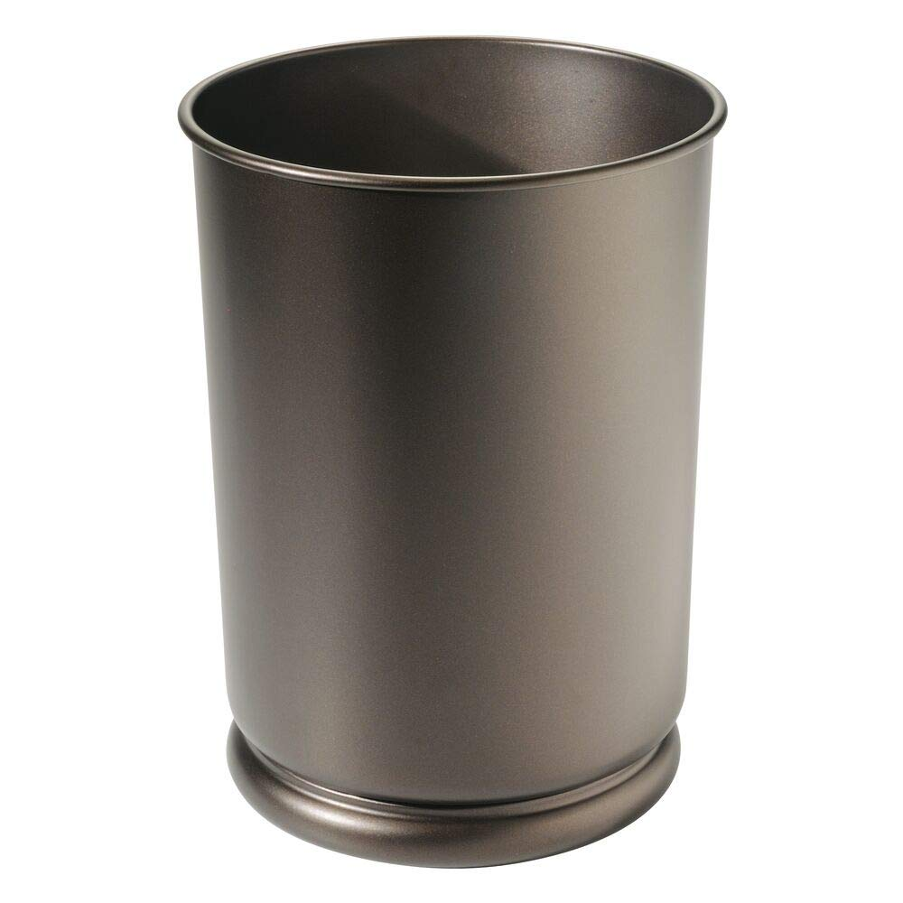 mDesign Slim Round Metal Small Trash Can Wastebasket, Garbage Container Bin for Bathrooms, Powder Rooms, Kitchens, Home Offices, Kids Rooms - Bronze