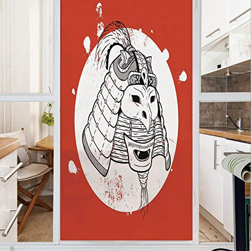 Decorative Window Film,No Glue Frosted Privacy Film,Stained Glass Door Film,Asian Ethnic Mask Design Grunge Stained Look Ronin Fighter Face,for Home & Office,23.6In. by 59In Red White Black