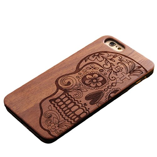 ensee Unique Carved Wood Wooden Hard Case Cover Protect Skull For iPhone 6/6s [4.7inch] ()