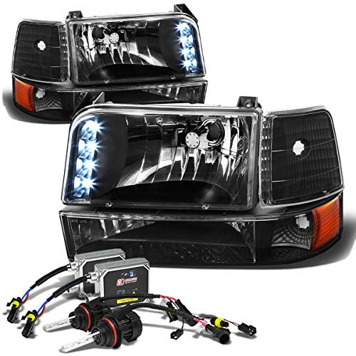 Assembly Ford Grille Bronco 96 (For Ford F-Series/Bronco Pair of Black Amber Corner LED Headlight+10,000K 9007 Hi-Lo HIDs+Thick Ballasts)