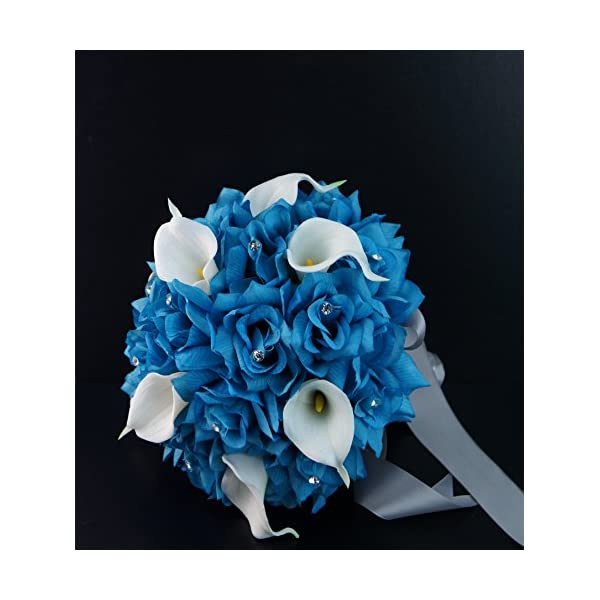 20pc Wedding Bridal Party Flower Package- Malibu/Turquoise,natural White.rose,real Touch Calla Lily Bouquet,boutonniere,wrist Corsage