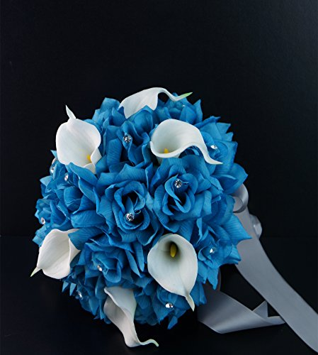 Wedding-Bridal-Bouquet-Boutonniere-Turquoise-Rose-and-White-Calla-Lily