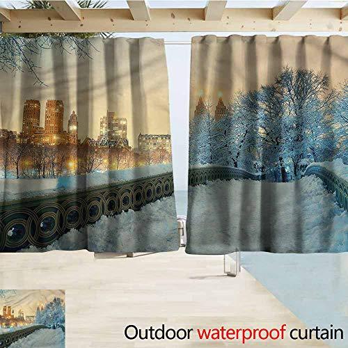 Beihai1Sun Darkening Curtains Winter Central Park New York Simple Stylish Waterproof W63x63L Inches - New Hotel Central Park York
