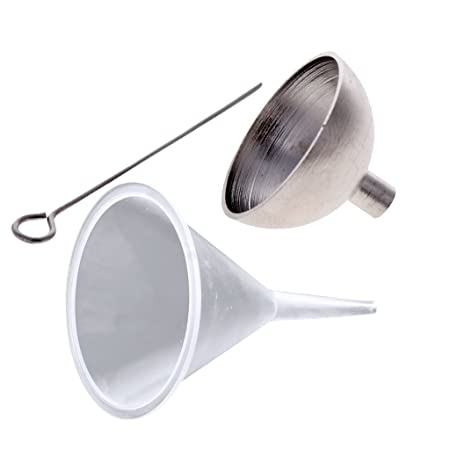 P Prettyia Stainless Steel Urn Funnel Filler Kit for Cremation Jewelry Ashes Keepsakes Mini Funnels with 2pcs Plastic Funnel kit