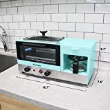 Elite Gourmet Maxi-Matic EBK8810BL Americana 3-in-1 Deluxe Breakfast Center Station, 4-Cup Coffeemaker, Toaster Oven with 15-Minute Timer, Griddle X-Large, 2-Slice, Blue