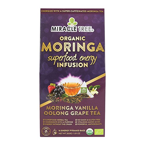 (Miracle Tree's Energizing Moringa Infusion - Vanilla Oolong Grape | Super Caffeinated Blend | Healthy Coffee Alternative, Perfect for Focus | Organic Certified & Non-GMO | 16 Pyramid Sachets)