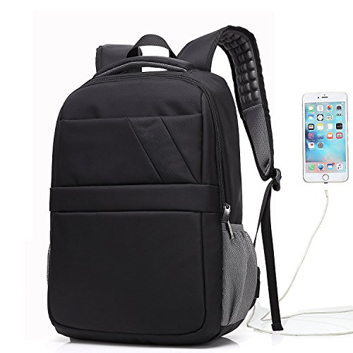 Bag with USB Charging Port,UBaymax Nylon Large-Capacity Water-Resistant Computer Backpacks Tote Bags Schoolbag For Travel College Business Black (Port Roller)