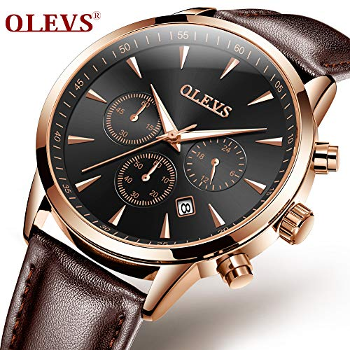 Kingston Brown Leather - OLEVS Luminous Hands Men Watches Genuine Leather Business Quartz Wristwatches for Man Gold Case Male Clock Waterproof Watch Gift (Black dail&Brown Leather)