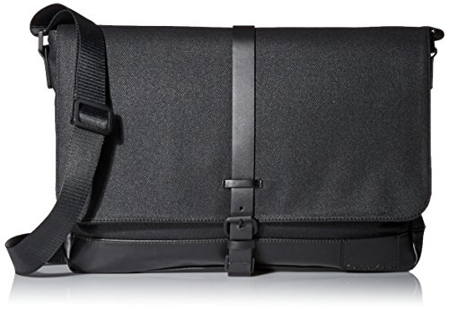 Calvin Klein Men's Calvin Klein Coated Canvas Messenger Bag, black, One Size