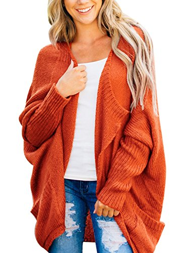 Leindr Women's Open Front Batwing Dolman Sleeve Chunky Knit Cardigan Sweater Casual Loose Oversized Outwear Coat with Side Pocket Orange L 12 14 (Orange Cardigan Sweater)