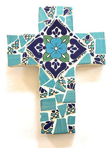 Mexican Tile Talavera Wall Mosaic Cross Assorted Blue and White Ceramic tile (Mosaic Blue Cross)