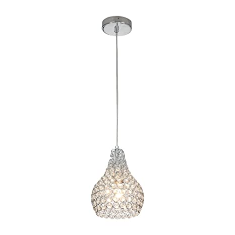 Glanzhaus Chrome Finish 1-Light Mini Silver Round Clear Crystal Pendant Light Hanging Chandelier  sc 1 st  Amazon.com & Glanzhaus Chrome Finish 1-Light Mini Silver Round Clear Crystal ...