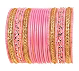 Product review for Touchstone Colorful 2 Dozen Bangle Collection Indian Bollywood Alloy Metal Textured Designer Jewelry Special Large Size Bangle Bracelets Set of 24 in Gold Tone for Women