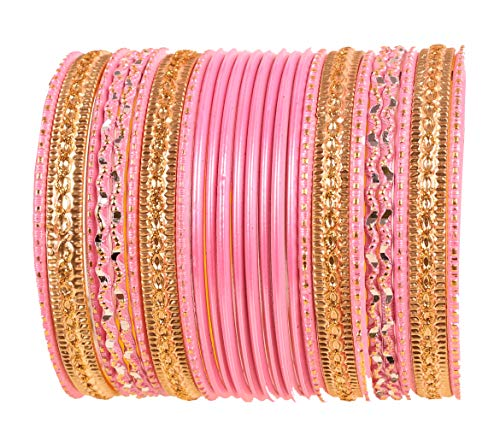 Touchstone New Colorful 2 Dozen Bangle Collection Indian Bollywood Alloy Metal Textured Baby Pink Designer Jewelry Special Large Size Bangle Bracelets Set of 24 in Antique Gold Tone for Women