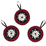 Christmas Snowflake Ornament Felt Embroidered Set of 3-4""