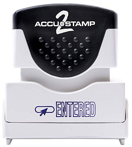 ACCUSTAMP2 Message Stamp with Micro ban Protection, ENTERED, Pre-Ink, Blue Ink (035573)