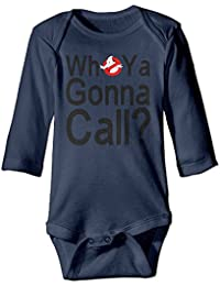 Infant Ghostbusters Logo Who You Gonna Call Long Sleeve Climb Jumpsuit Navy