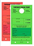 Temporary Parking Permit - Mirror Hang Tags, Numbered with Tear-Off Stub, 7-3/4'' x 4-1/4'', Bright Fluorescent Green and Red, 50 Per Pack - Double-Pack (100 Tags)