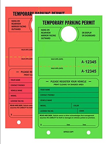Temporary Parking Permit - Mirror Hang Tags, Numbered with Tear-Off Stub, 7-3/4'' x 4-1/4'', Bright Fluorescent Green and Red, 50 Per Pack - Double-Pack (100 Tags) by Linco