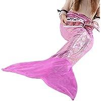 LANGRIA Mermaid Blanket Glittering Flannel Mermaid Tail...