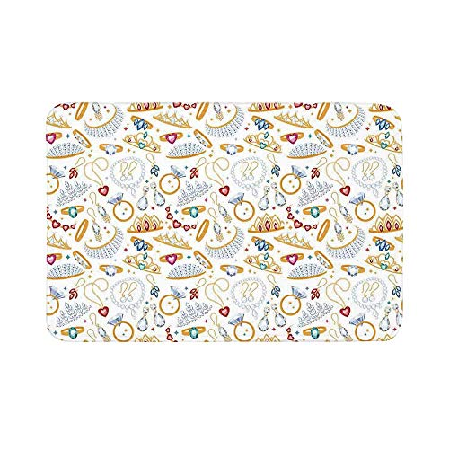C COABALLA Pearls Durable Door Mat,Pattern with Accessories Diamond Rings and Earring Figures Image Digital Print Decorative for Living Room,19.6