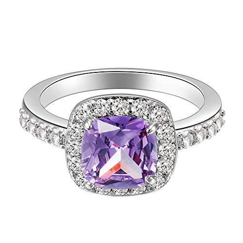 Impression Collection Square Rings Wedding Party Statement CZ Cocktail Gold Plated Classic Fashion Size 4-12 (Purple, -