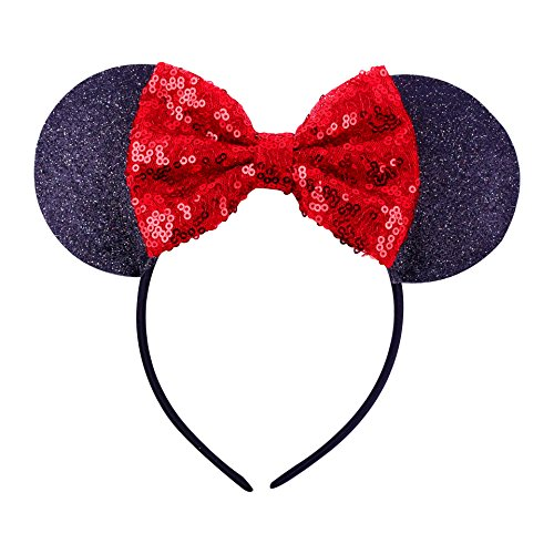 Cute Mickey Mouse Ears Headband Hoop Hair Accessories Headdress Hair Accessories for Party Festivals (Black Red)