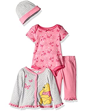 Baby Girls' 4-Piece Winnie the Pooh Cardigan Set with Bodysuit, Pant, and Hat