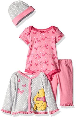 Disney Baby Girls' 4-Piece Winnie the Pooh Cardigan Set with Bodysuit, Grey, 6/9 Months