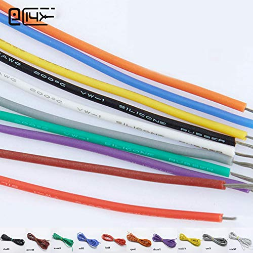 2Metre 26AWG Silicone Wire Ultra Flexiable Cable 0.15Mm2 High Temperature Test Line Wire Black 2m