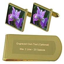 Iris Flower Gold-tone Cufflinks Money Clip Engraved Gift Set