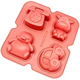 Freshware CB-900Rd 4-Cavity Silicone Penguin, Hippo, Toy Car and Telephone Muffin, Brownie, Cornbread, Cheesecake, Pudding and Soap Mold