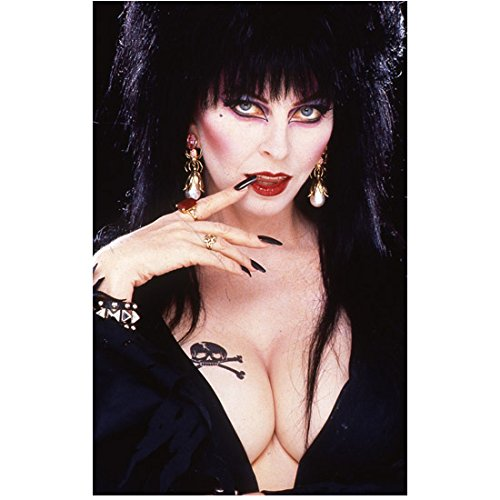 Elvira Cassandra Peterson Deep Cleavage Looking Dark and Sexy One Finger Resting on Lips 8 x 10 Inch Photo