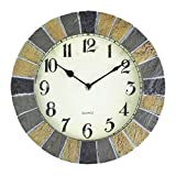 AIOLOC 14-Inch Faux-Stone Indoor or Outdoor Wall Clock Battery Operated Home Clocks