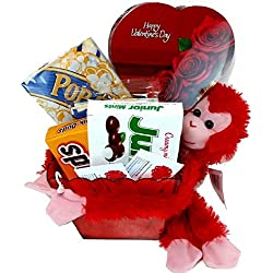 Valentines Day Movie Night Gift Basket ~ Includes a Box of Chocolates, Popcorn, Concession Stand Candy, a Stuffed Hanging Monkey and 2 Free Redbox Movie Rentals