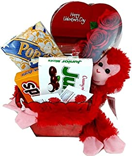 Valentines Day Movie Night Gift Basket ~ Includes a Box of Chocolates, Popcorn, Concession