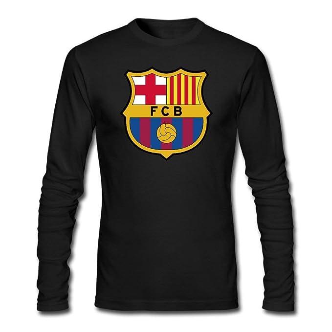 31254cf7d17 Men s Casual Cotton Cool Fc Barcelona Soccer Ball FCB Graphic Tee Shirts  Long Sleeve V-