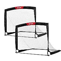 NET PLAYZ 4 pies x 3 pies Easy Fold-Up Portable Soccer de entrenamiento de portería, juego de 2