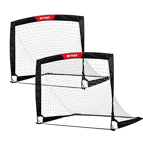 NET PLAYZ 4ftx3ft Easy Fold-Up Portable Training Soccer Goal, Set of 2 Goal Net Set
