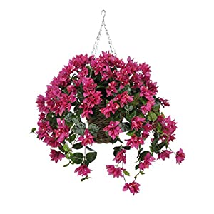 House of Silk Flowers Artificial Fuchsia Bougainvillea in Square Hanging Basket 24